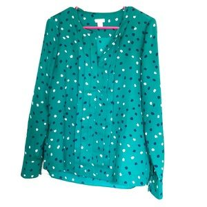 J. Crew Factory Pleated Silk Blouse, Abstract Dot